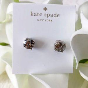 NWT Kate Spade Silver Gundrop Stud Earrings Grey